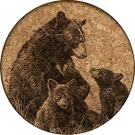 Bear Mama with Two Cubs Coaster