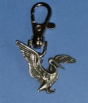 Pewter Pelican Charm with Clip