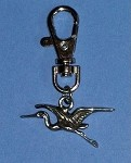 Pewter Crane Charm with Clip