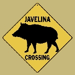 Javelina Silhouette Crossing Sign