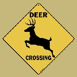 Deer Silhouette Crossing Sign