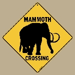 Mammoth Silhouette Crossing Sign