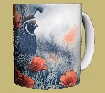 California Quail & Poppies 11 OZ. Ceramic Coffee Mug