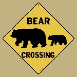 Bear Silhouette Crossing Sign