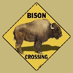 Bison Crossing Sign