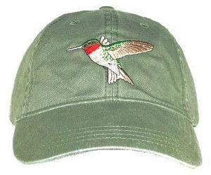 Ruby-throated Hummingbird Embroidered Cap
