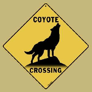Coyote Silhouette Crossing Sign