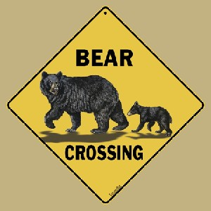 Bear Family Crossing Sign